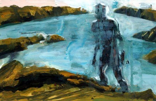 Figure Approaching Hilltop